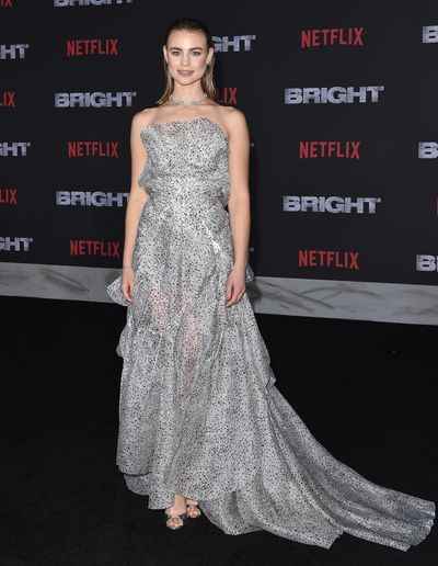 "Lucy Fry in <em><a href=""https://www.tonimaticevski.com/"" target=""_blank"">Maticevski</a></em> at the premiere of Netflix's <em>Bright</em>  in Los Angeles in December, 2017"