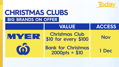 Both Myer and Woolworths are offering Christmas Clubs.