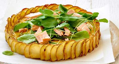 "Recipe: <a href=""http://kitchen.nine.com.au/2017/05/24/13/30/crispy-potato-salmon-and-herb-quiche"" target=""_top"">Crispy potato, salmon and herb quiche</a>"