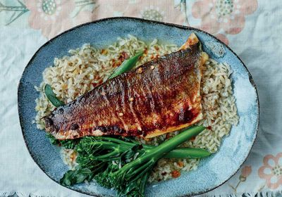 """Recipe: <a href=""""http://kitchen.nine.com.au/2017/03/06/16/46/anxiety-busting-miso-sea-bass-with-green-tea-rice-ochakuze"""" target=""""_top"""">Miso sea bass with green tea rice (ochakuze)</a>"""
