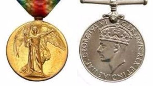Two of the 13 war medals stolen. (Queensland Police)