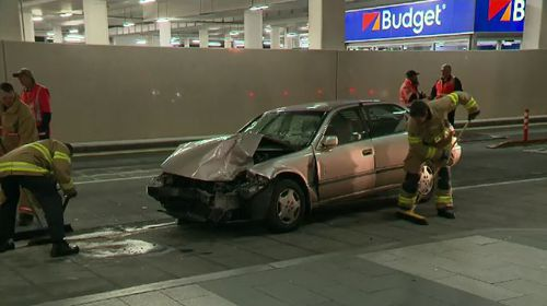 The driver of an out-of-control car and the three people he struck at Adelaide Airport overnight have stabilised in hospital today. Picture: 9NEWS.