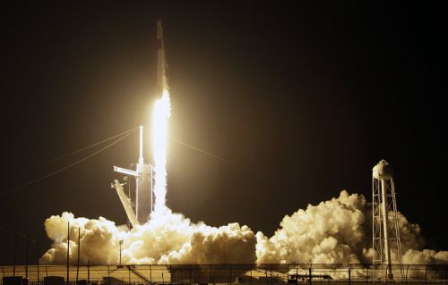 A SpaceX Falcon 9 rocket with a demo Crew Dragon spacecraft lifts off from pad 39A on an uncrewed test flight to the International Space Station at the Kennedy Space Center