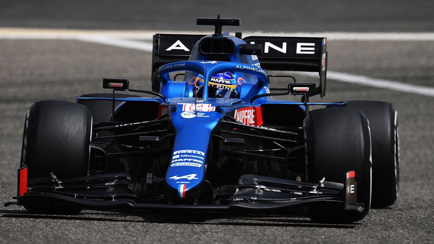 Fernando Alonso in action for Alpine in Bahrain.