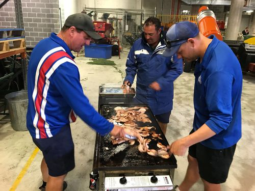 A barbecue is started as cricket fans wait for the fifth test to start. (Picture: Jayne Azzopardi)