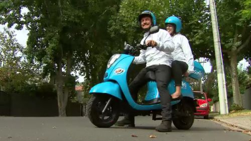 Scooti is similar to Uber, but with two wheels. (9NEWS)