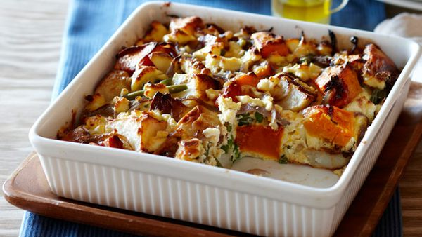 Roast potato and pumpkin frittata