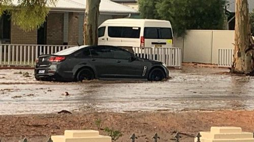 Floodwaters swamped this Holden in Broken Hill.