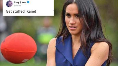 AFL Footy Show host Tony Jones cops royal roasting by Kane Cornes over Meghan Markle handball