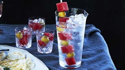 "Recipe:<a href=""https://kitchen.nine.com.au/2017/10/20/12/31/mark-best-martini-with-watermelon-and-olive-garnish"" target=""_top"">Mark Best's martini with watermelon and olive garnish</a>"