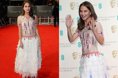 The Swedish starlet wears Chanel on the red carpet... talk about a flurry of fringing!