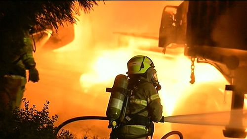 The truck caught ablaze on a Melbourne freeway. (9NEWS)