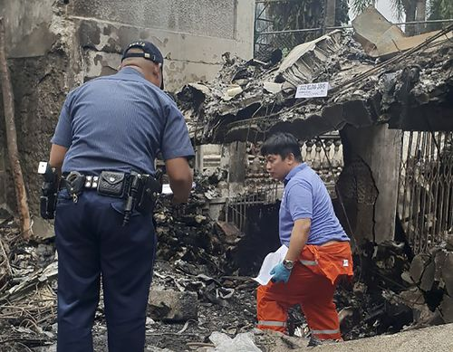 The small plane crashed and exploded in flames in a resort south of Manila. (Jeffrey Rodriguez via AP)