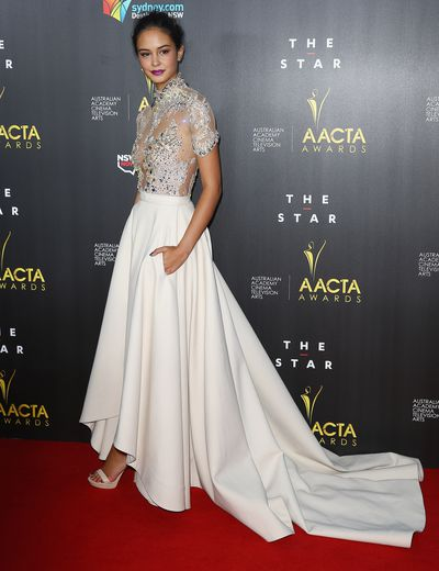 <p>Courtney opted for a J'Aton Couture gown at AACTA Awards Ceremony, January 2014. </p>