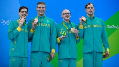 The men's 4x100m medley relay team of Mitch Larkin, Jake Packard, David Morgan and Kyle Chalmers snared a bronze medal thank's to Chalmers' fast finish. (Getty)