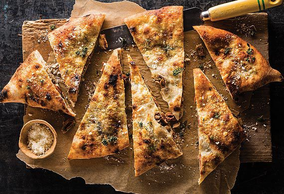 Johnny Di Francesco's calzone con funghi and olives