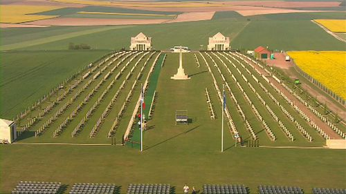 The Villers-Breonneux World War 1 cemetery in France.
