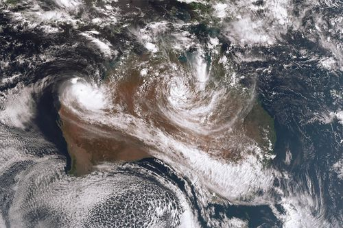 As Tropical Cyclones Trevor and Veronica move, moisture brought on by them will cause widespread thunderstorms and rainfall in central and eastern parts of Australia. (AAP Image/Bureau of Meteorology)