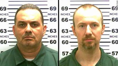 """Matt (left) and Sweat were discovered missing at 5:30am on Saturday morning as prisoners lined up for their usual """"standing count"""".<p></p><p></p>"""