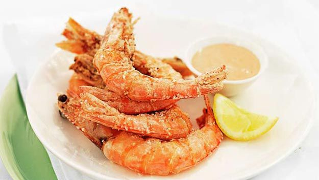 Crispy-shell king prawns with zesty Marie Rose dipping sauce