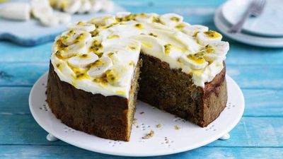 "Recipe: <a href=""https://kitchen.nine.com.au/2017/10/20/14/21/banana-carrot-and-walnut-cake"" target=""_top"">Banana, carrot and walnut cake</a>"