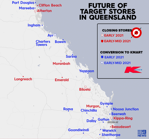 Target stores closing or being converted to Kmart stores in Queensland.