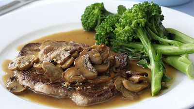 """Recipe:<a href=""""http://kitchen.nine.com.au/2016/05/18/01/27/minute-steaks-with-mushroom-sauce-and-broccolini"""" target=""""_top"""" draggable=""""false"""">Minute steaks with mushroom sauce and broccolini</a>"""