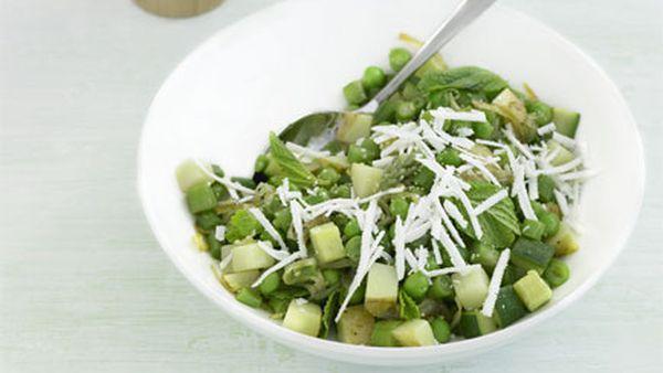 Zucchini, asparagus, peas and ricotta salata salad