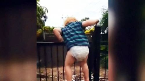 A toddler in Adelaide was filmed climbing and unlocking a pool gate. (9NEWS)