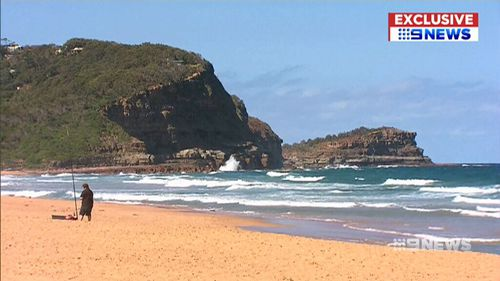 Avoca Beach remained closed as life savers and helicopter crews tried to track the shark. (9NEWS)