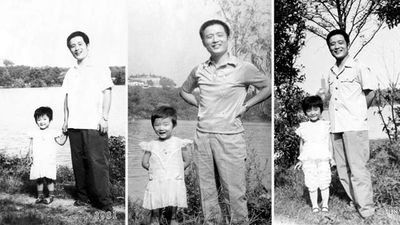 HuaHua has her father's smile in 1981 and takes after him in 82 and 84.