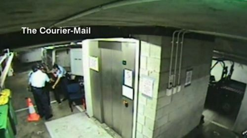 Mr Flori leaked a video showing police officers and a man at the Surfers Paradise station. (9NEWS)