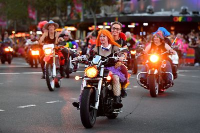 The Dykes on Bikes group went roaring down Oxford Street. (AAP)