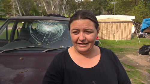 Michelle Polomka was sitting in the passenger seat, centimetres from where the brick struck the windscreen.
