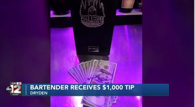 Two men left a tip of $1000 in $100 notes for Michigan bartender Dawn