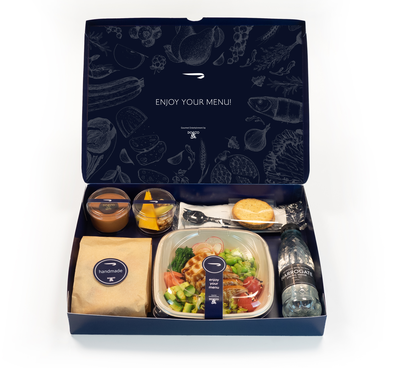 Adjustments to British Airways meal service to minimise contact are already in place. Pictured: A typical meal box.