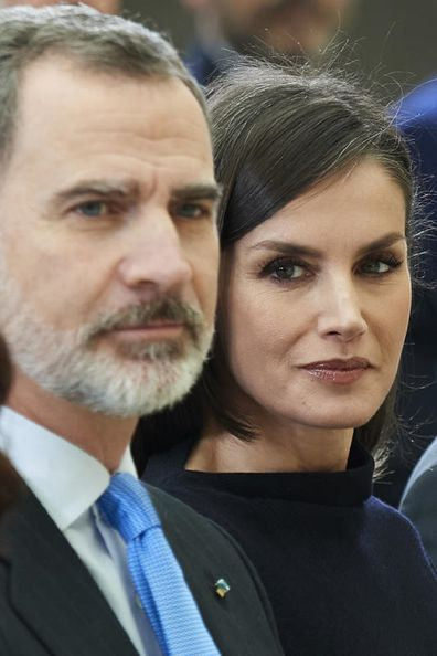 King Felipe and Queen Letizia attend Placido Arango's funeral at Los Jeronimos on March 04, 2020 in Madrid, Spain.