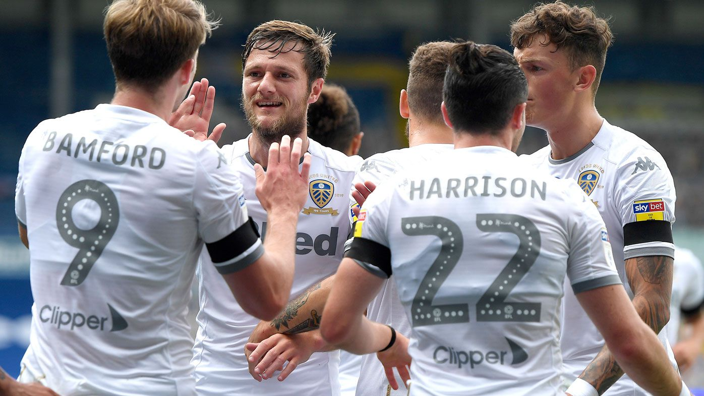 Liam Cooper of Leeds United celebrates