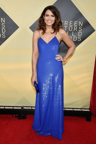 Actress and singer Mandy Moore in custom-made Ralph Lauren at the 2018 SAG Awards