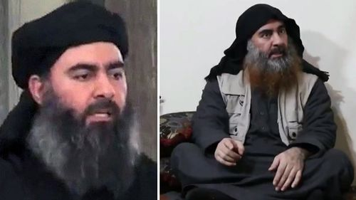 In April 2019, Abu Bakr al-Baghdadi appeared for the first time in five years in a video (right) released by Islamic State's propaganda arm. The image on the left is the photo on the RFJ page for the IS leader and his $25m bounty.