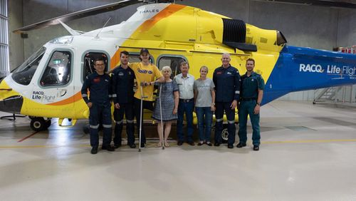 Queensland teen who lost leg in horrific farming accident reunites with rescuers