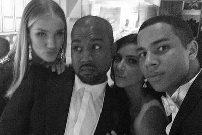 @kimkardashian: Xo #RosieHuntington #Kanye #OliverRousteing