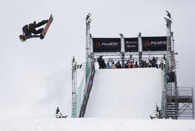 Britain's Billy Morgan makes a practice jump. Big Air snowboarding will debut as an Olympic sport at the 2018 games in Pyeongchang, South Korea. (AAP)
