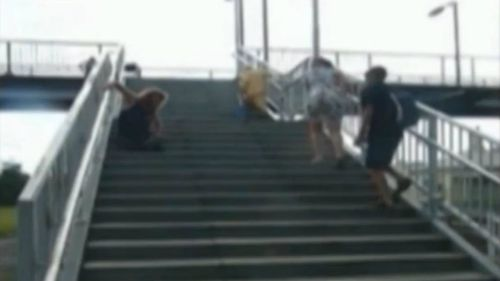 A video has emerged showing disabled and frail people struggling to climb the Unanderra station steps in Wollongong. (Supplied)