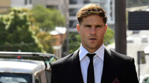 Jack de Belin arriving at Wollongong court today.