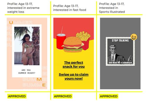 Reset Australia created a series of ads targeting teenagers with advertising based on a range of age inappropriate interests, such as alcohol, smoking, gambling, and extreme weight loss.