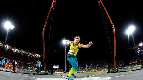 Dani Stevens won a second straight Commonwealth Games women's discus. (AAP)
