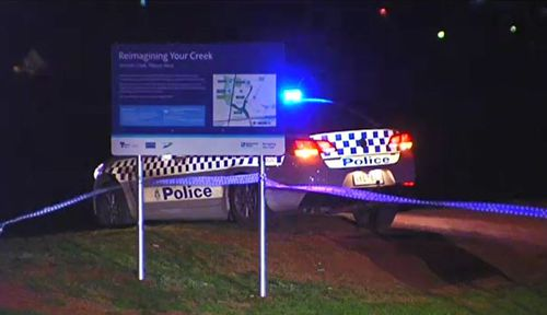 The park in Melton was blocked off as detectives investigated the stabbing attack. Picture: 9NEWS