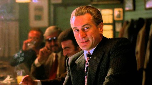 Robert De Niro in Goodfells as Jimmy Conway, a character inspired by Jimmy Burke.