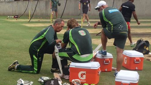 Shane Watson shaken up after being hit in head by bouncer at Aussie training